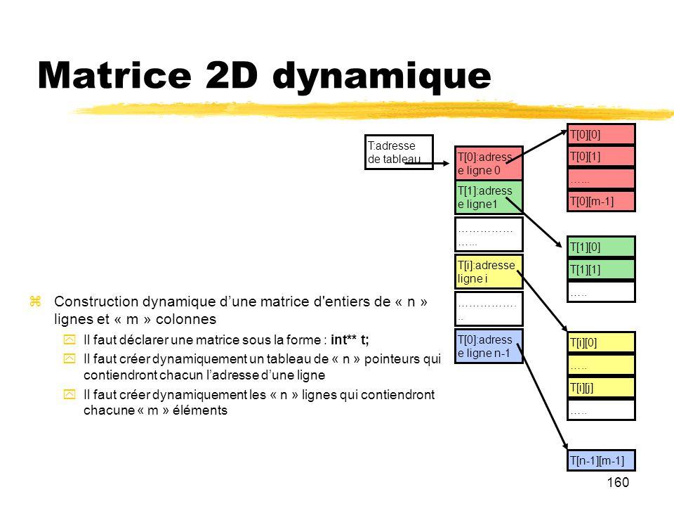Matrice 2D dynamique T[0][0] T:adresse de tableau. T[0]:adress e ligne 0. T[0][1] …... T[1]:adress e ligne1.